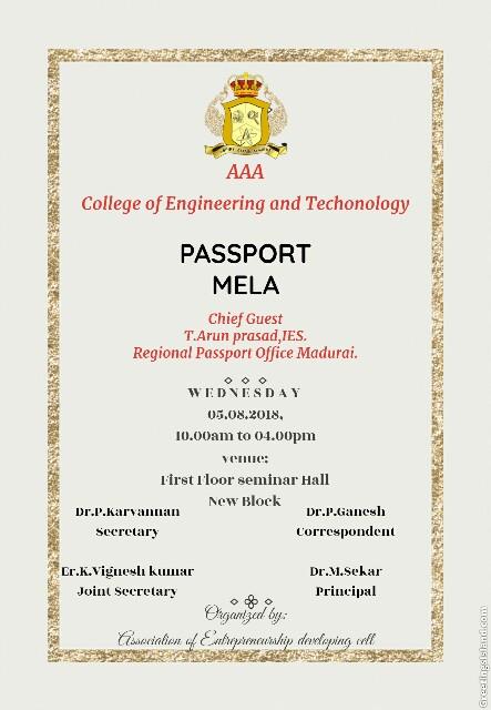 Passport Mela – AAA ENGINEERING COLLEGE