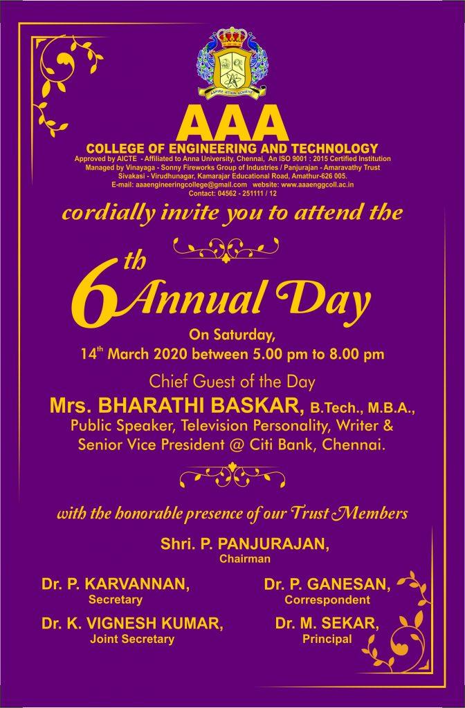 College Day - 2020 Invitation